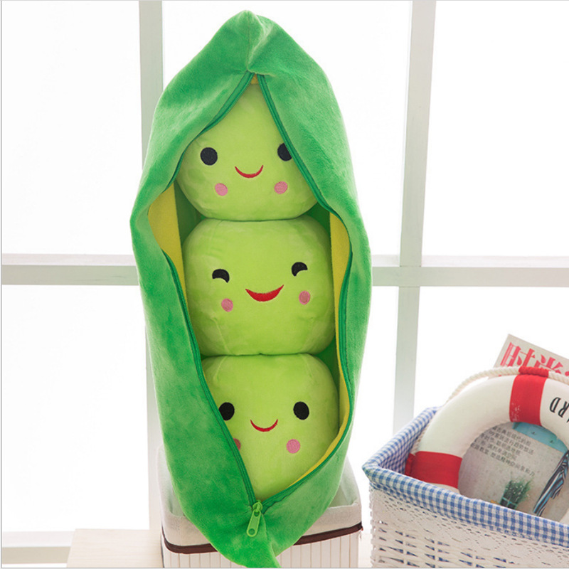 25CM Cute Kids Baby Plush Toy Pea Stuffed Plant Doll Kawaii For Children Boys Girls Gift High Quality Pea-shaped Pillow Toy 138
