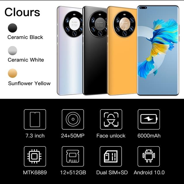 Mate40 Pro+ Android10 Smartphone 7.2 Inch HD Full Screen 512GB FaceFingerprint Unlock Phone Global Version 4G/5G Mobile Phone 2