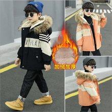 Inverno 4-13 anos de idade menino algodão-acolchoado jaqueta longa moda engrossar mais cashmere casaco quente para crianças roupas outwear crianças