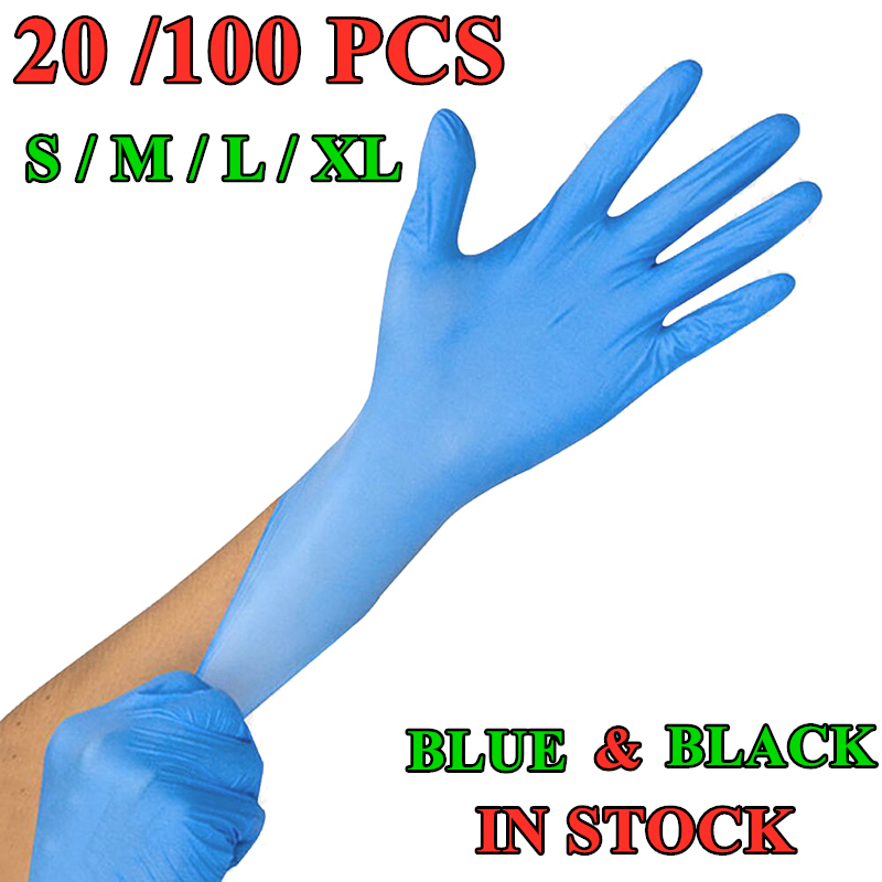 100PCS Disposable Nitrile Gloves Working Gloves Latex S/M/L/XL Household Cleaning Laboratory Nail Art Tattoo Anti-Static Gloves