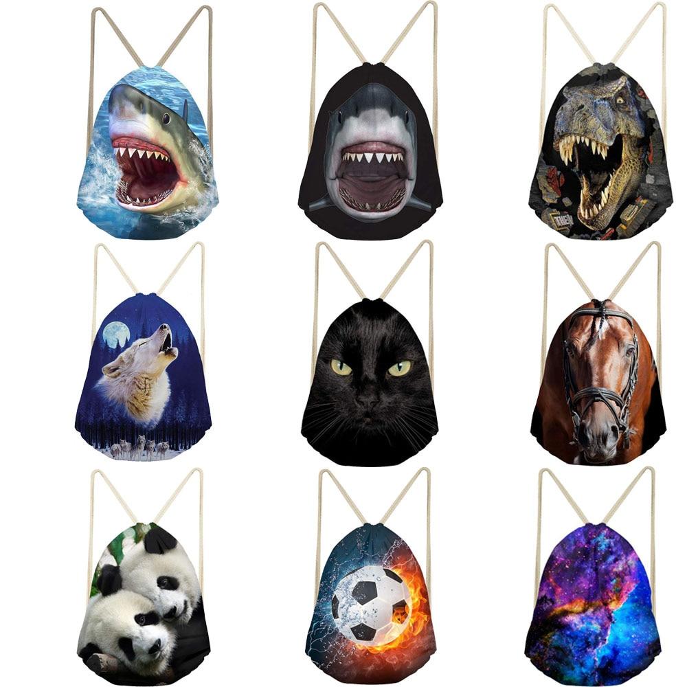 Unisex Drawstring Bag Polyester Shark Dinosaur Cat Galaxy 3D Print String Backpack For Male Women Light Folding Bag