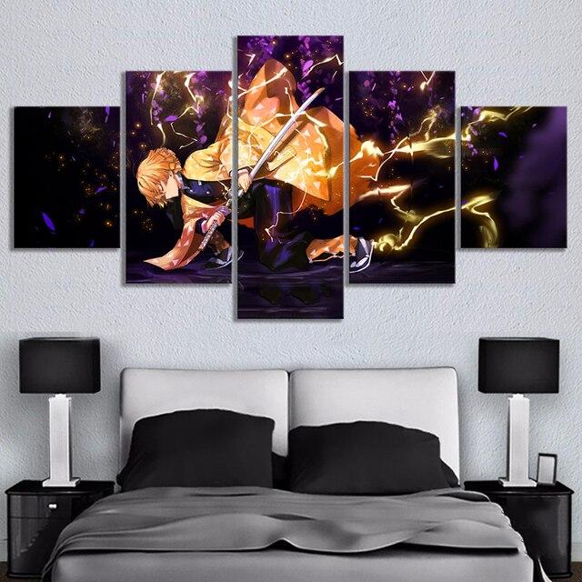 Modular Picture HD Printed Poster 5 Pcs Demon Slayer Kimetsu No Yaiba Anime Canvas Paintings Wall Art For Living Room Home Decor