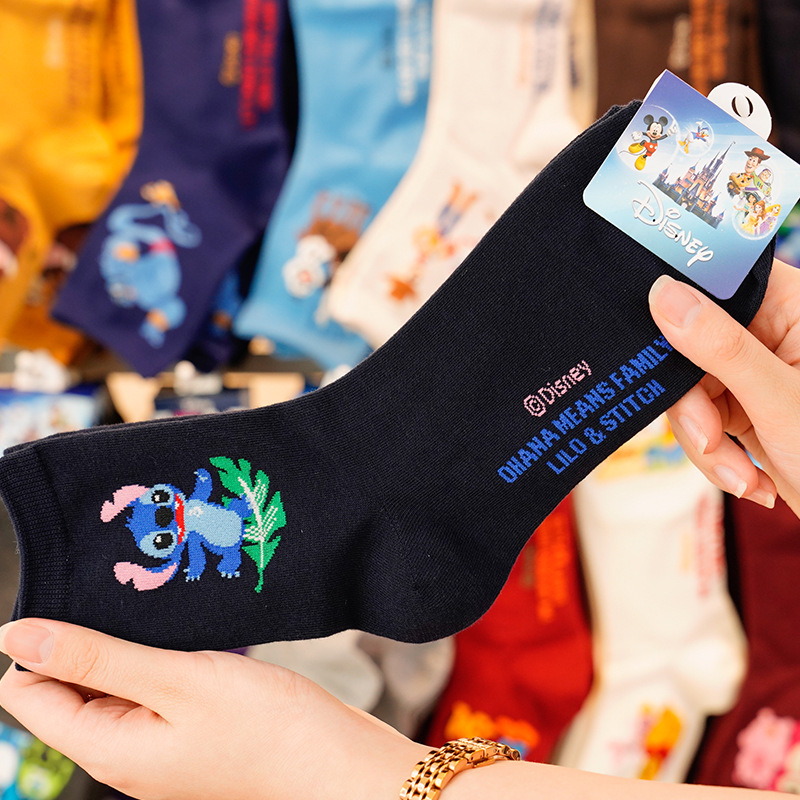 Disney Cute Solid Color Cotton Socks Cartoon Print Play Mickey / Winnie The Pooh / Toy Story In The Tube Cotton Socks For Women