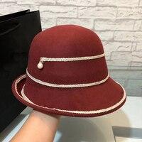 Wool Felt Cloche Hat Ladies Church Hats Floppy Round Caps Winter Women Fedora
