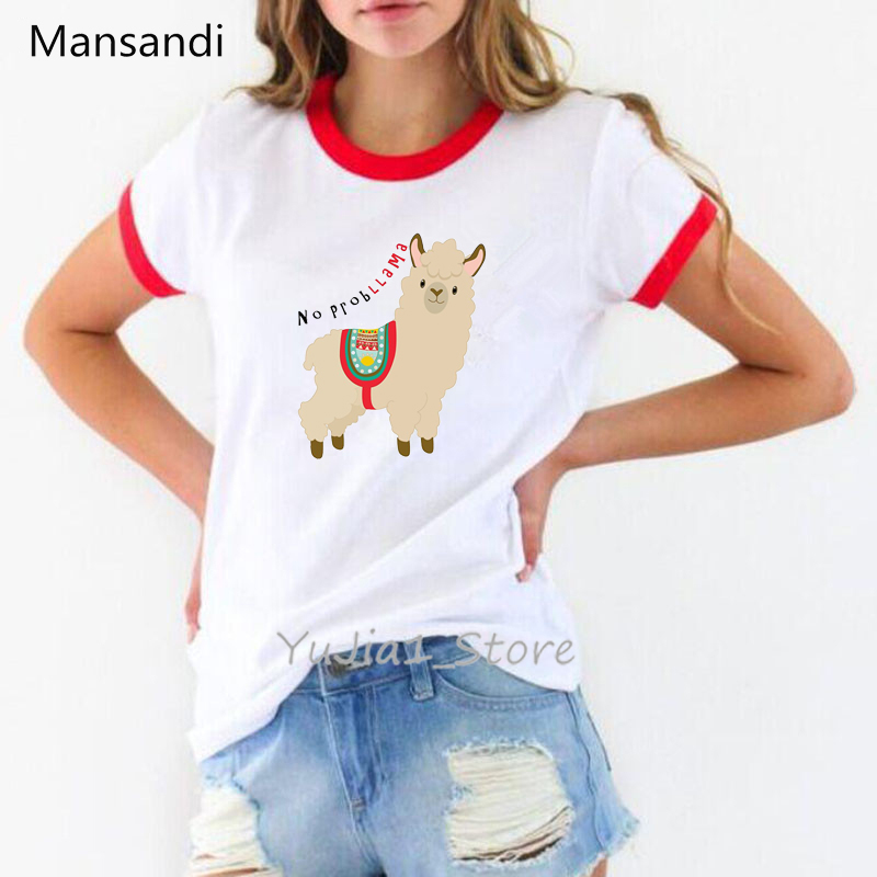 Women Clothes 2019 Summer Harajuku Kawaii Alpaca Llama animal Print Haut Femme White Cartoon T Shirt Camiseta Mujer Tshirt