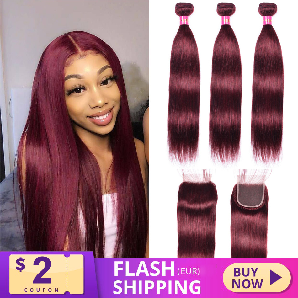 Hair-Bundles Closure Burgundy Straight My-Like-99j Brazilian with Red Nonremy