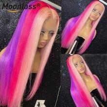 Highlight Wig Human-Hair-Wigs Rainbow Purple Brazilian Lace-Front Transparent 180-Density