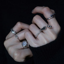S925 Sterling Silver Irregular Rings for Women Double-deck Opening Resizable Hip Hop Minimalist Handmade Jewelry Accessories