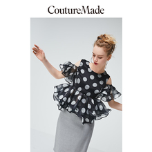 Vero Moda CoutureMade Women's Off-the-shoulder Ruffled Mulberry Silk Chiffon Top Blouse   31926X530