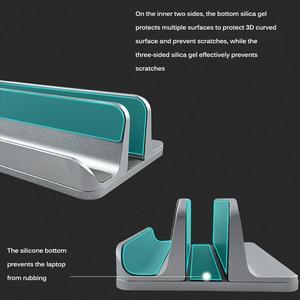 Image 2 - Soporte Vertical doble para ordenador portátil, soporte de teléfono de aleación de aluminio, ajustable para ordenador portátil, soporte de almacenamiento para Ipad