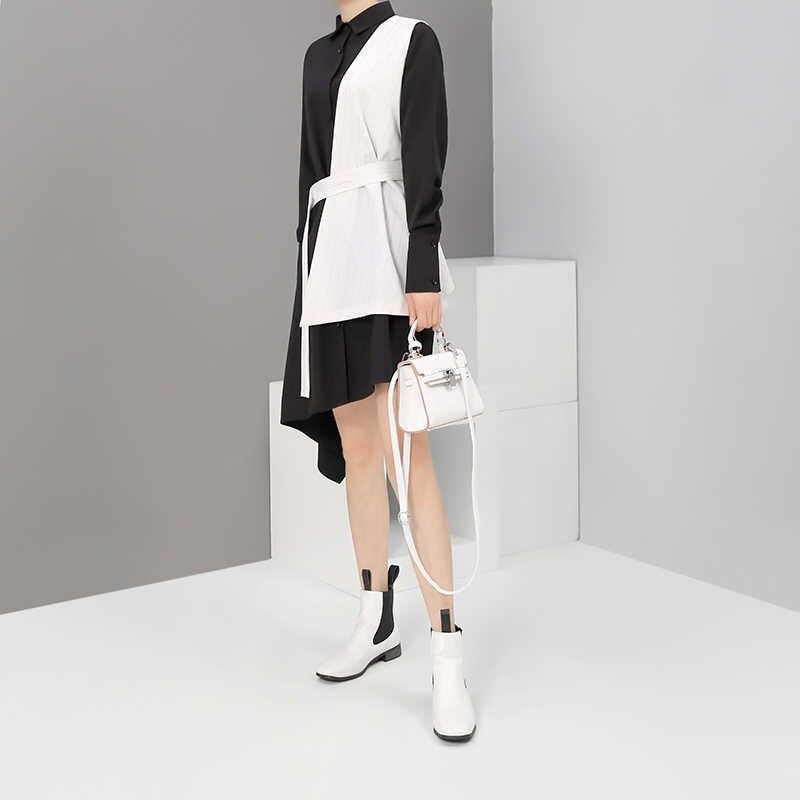 Новинка, женская черная рубашка в полоску с длинным рукавом, брошь на платье, пояс, пэчворк, 2019, женские модные вечерние платья-миди, Festal Robe Femme 5408