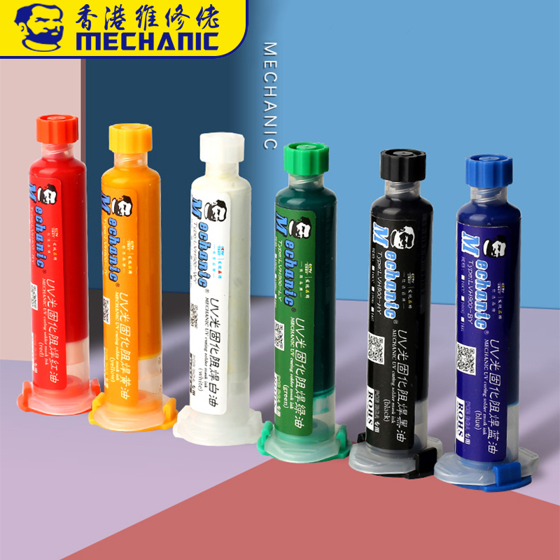 MECHANIC UV Light Curing BGA PCB Solder Mask Ink Black/Blue/Green/Red/Yellow/White Welding Oil Paint Prevent Corrosive Arcing