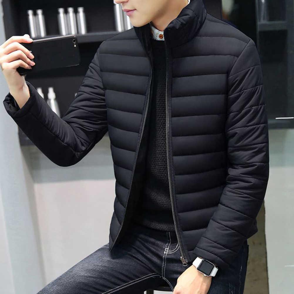 새로운 남성 겨울 따뜻한 아웃 착용 대형 남성 긴 소매 스탠드 칼라 코튼 비즈니스 캐주얼 지퍼 따뜻한 코튼 자켓
