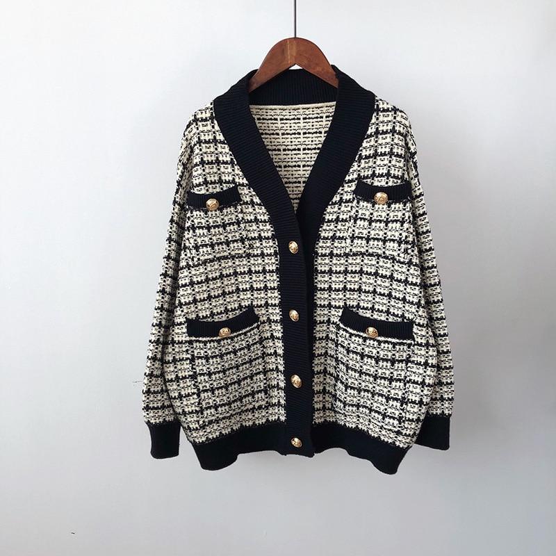 Купить винтажный свободный клетчатый кардиган свитер женское утепленное