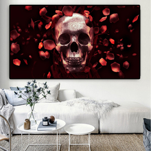 RELIABLI Poster Canvas Painting Abstract Print Skull Art Rose Wall Pictures For Living Room Cuadros Home Decoration