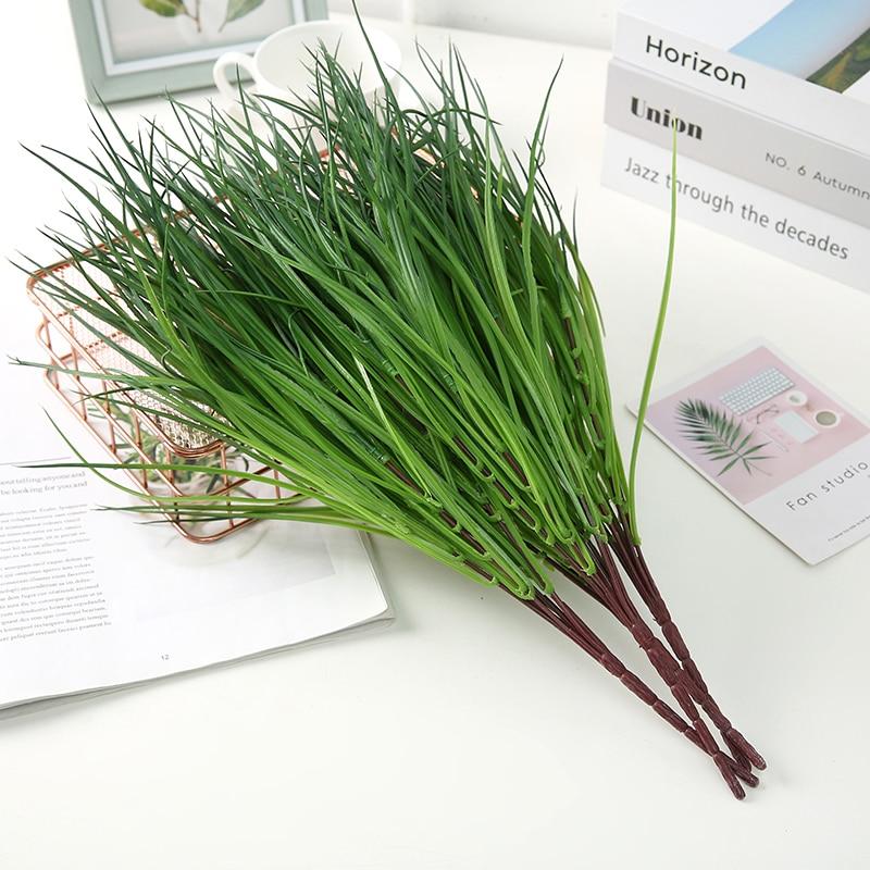 1pcs Artificial Plants Grass Green Grass Plastic Plant Decorative Flowers Garden Home Decoration Artificial Grass Fake Plant