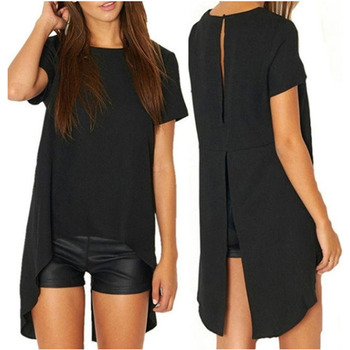 2021 Summer Solid Color Women T-shirt Sexy High Slits Back Casual Tops Loose Female Black Tee Shirts