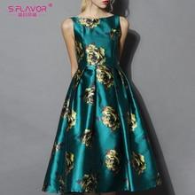 S.FLAVOR 빈티지 민소매 여성 미디 Vestidos 우아한 인쇄 가을 a 라인 드레스 겨울 여성 슬림 복고풍 드레스