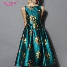 S.FLAVOR Vintage Sleeveless Women Midi Vestidos Elegant Printing Autumn A line Dress Winter Women Slim Retro Dresses