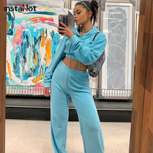 InstaHot Drawstring Crop Hoodies ans Wide Leg Pants Set 2 Piece Outfit For Women Spring Casual Long Sleeve Velvet Blue Tracksuit