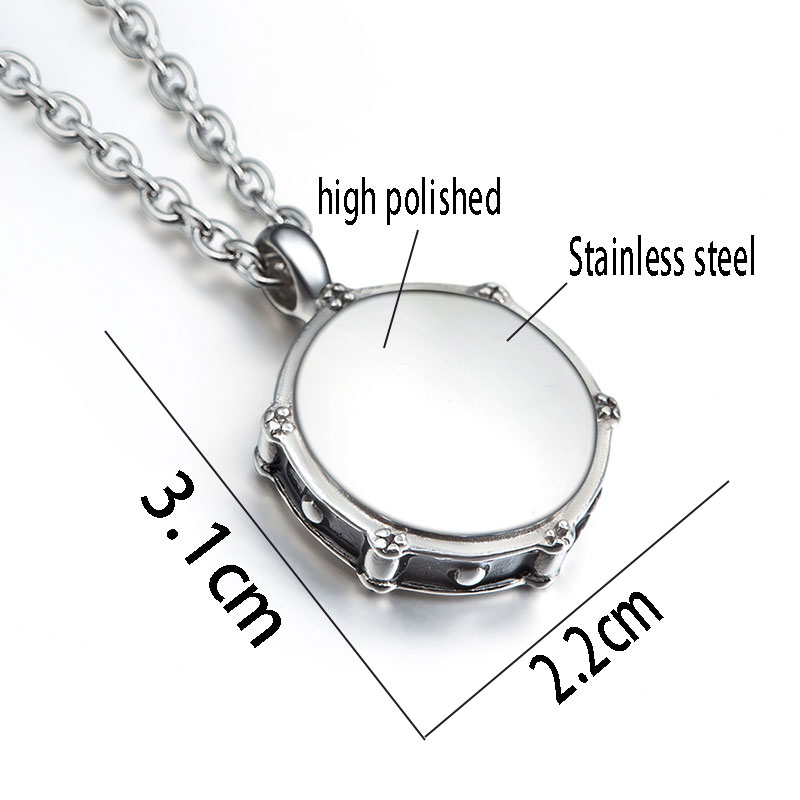 Necklace Drums and Drum Sticks Pendant Music Jewelry