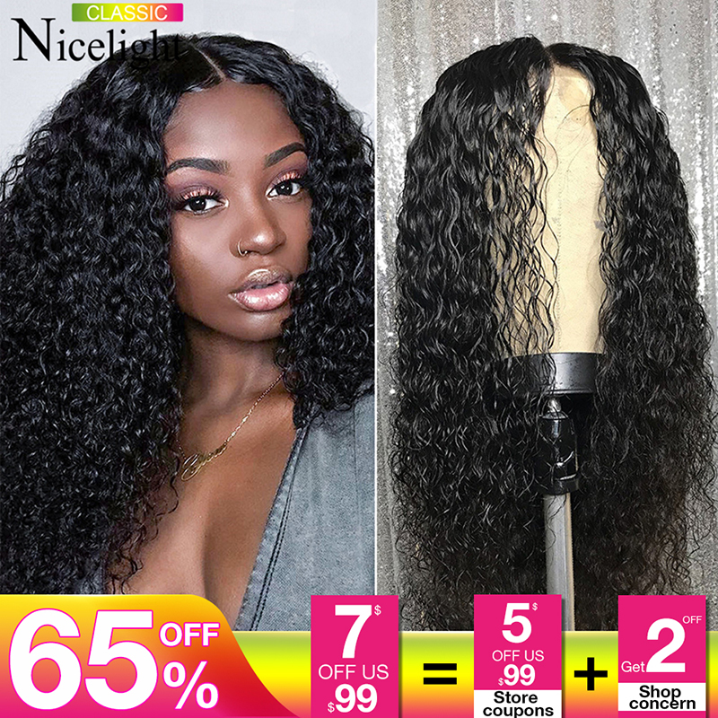 Factory Outlet 4x4Curly Human Hair Wig Remy Malaysian Curly Wig 100% Human Hair Lace Closure Wig 180% Kinky Curly Lace Front Wig