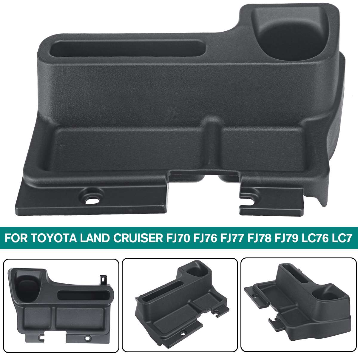 1Set Black Plastic Car Center Console Armrest Storage Box Tray For <font><b>Toyota</b></font> Land Cruiser FJ70 FJ76 FJ77 FJ78 FJ79 <font><b>LC76</b></font> LC77 image