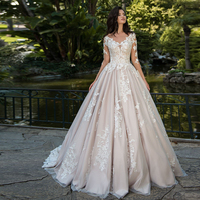 Custom Made A-line Wedding Dresses 2020 Robe De Mariee Long Sleeve Buttons Up Back Appliques Bridal Gowns China Mariage