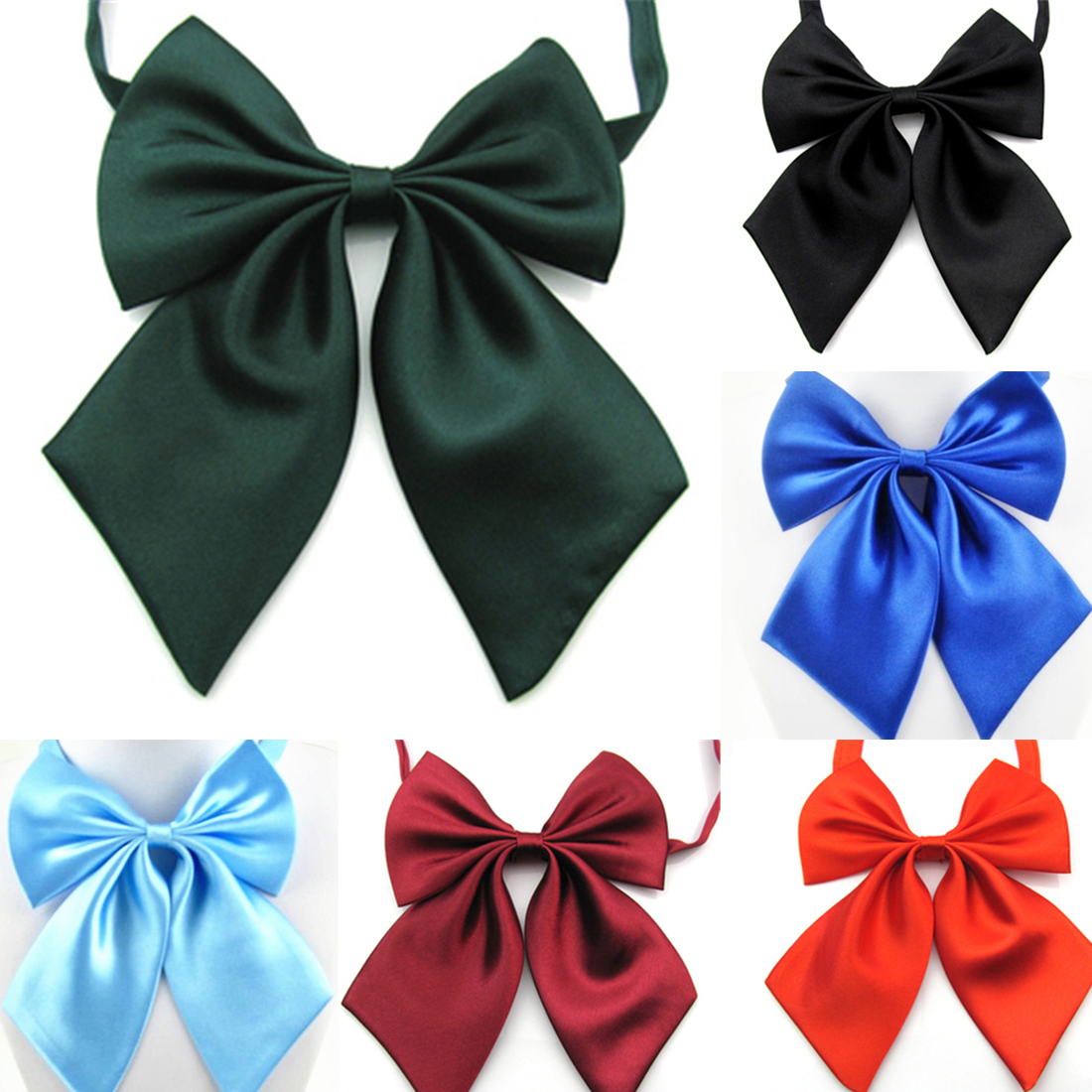 1 Pc Women Cravat Red Black Butterfly Ladies Solid Color Bow Tie Female Girl Student Hotel Clerk Waitress Neck Wear Silk Ties