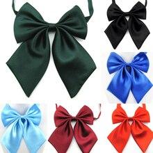1 ПК женщины галстук красный черный бабочка дамы сплошной цвет бант галстук женщина девушка студент отель клерк официантка шея одежда шелк галстуки