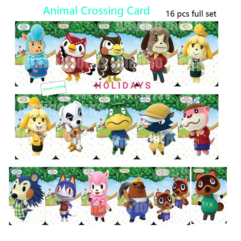 Animal Crossing Card Amiibo Locks NFC Card Work For Switch Latest Data 16 Pcs Full Set