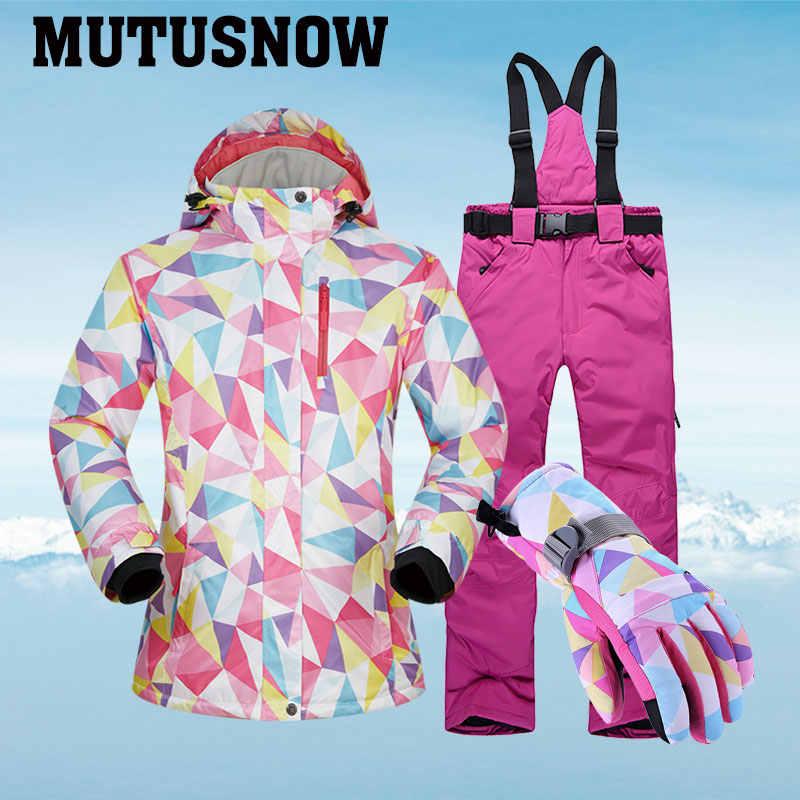 -30 °C Hangat Ski Suit Wanita Merek Wanita Ski Jaket dan Celana Hangat Tahan Air Tahan Air Ski dan Snowboarding Cocok