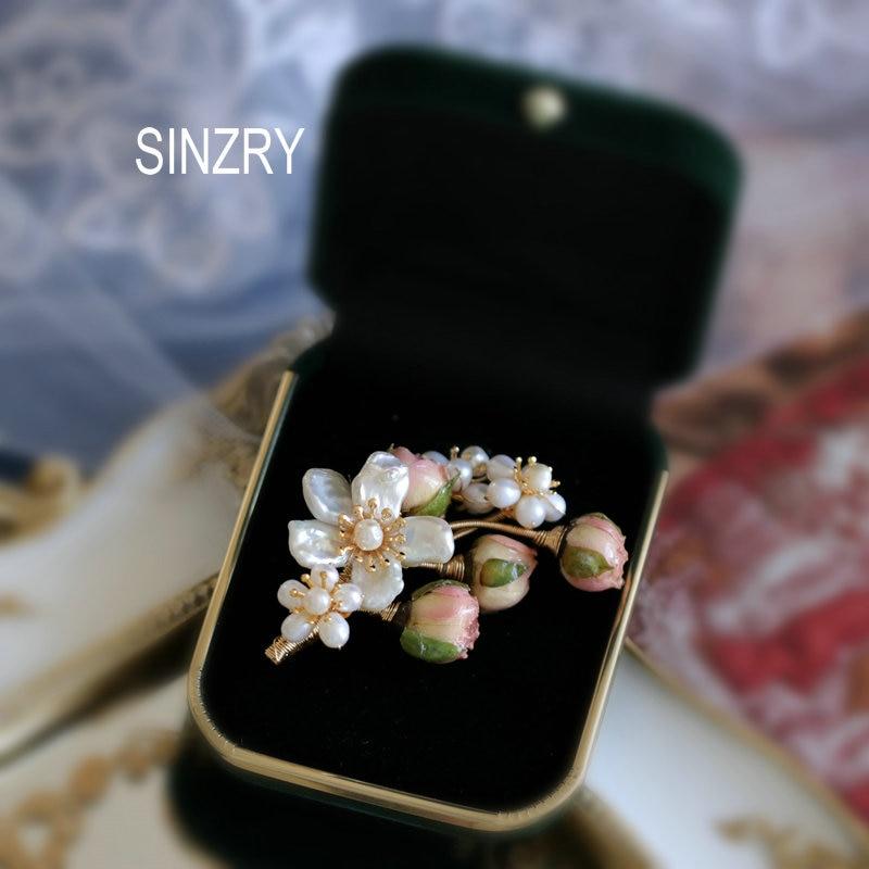 Женская Брошь с натуральным жемчугом SINZRY, Винтажная брошь ручной работы в форме цветка розы, аксессуар для костюма