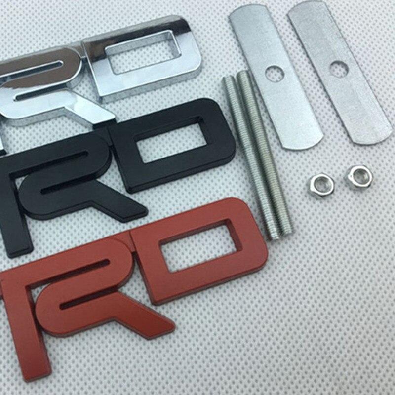 【Livraison gratuite 】 30 set voiture Styling12.3 * 3.5cm en alliage de Zinc placage TRD emblème voiture grilles insigne logos argent rouge noir
