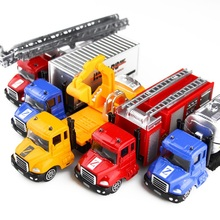 1:64 Pull Back Sliding Car Toy Alloy Municipal Engineering Vehicle Model Fire Truck Model Excavator Garbage Truck Toys for Kids kids collectible cute animal model dinosaur panda vehicle mini elephant bear toy truck tiger pull back car boy toys for children