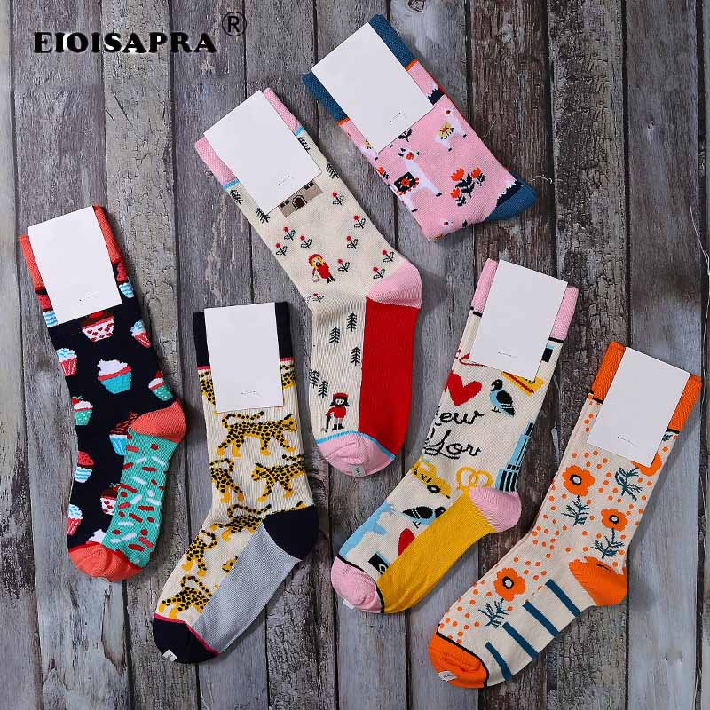 New Product Autumn/Winter Tide Socks Creative Casual Hip Hop Cartoon Jacquard Women Socks Harajuku Streets Trend Skateboard Sox