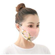 2021 novo verão fino respirável chiffon máscaras flor impressão fashon protetor solar boca-muffle cobre ajustável poeira máscara protetora