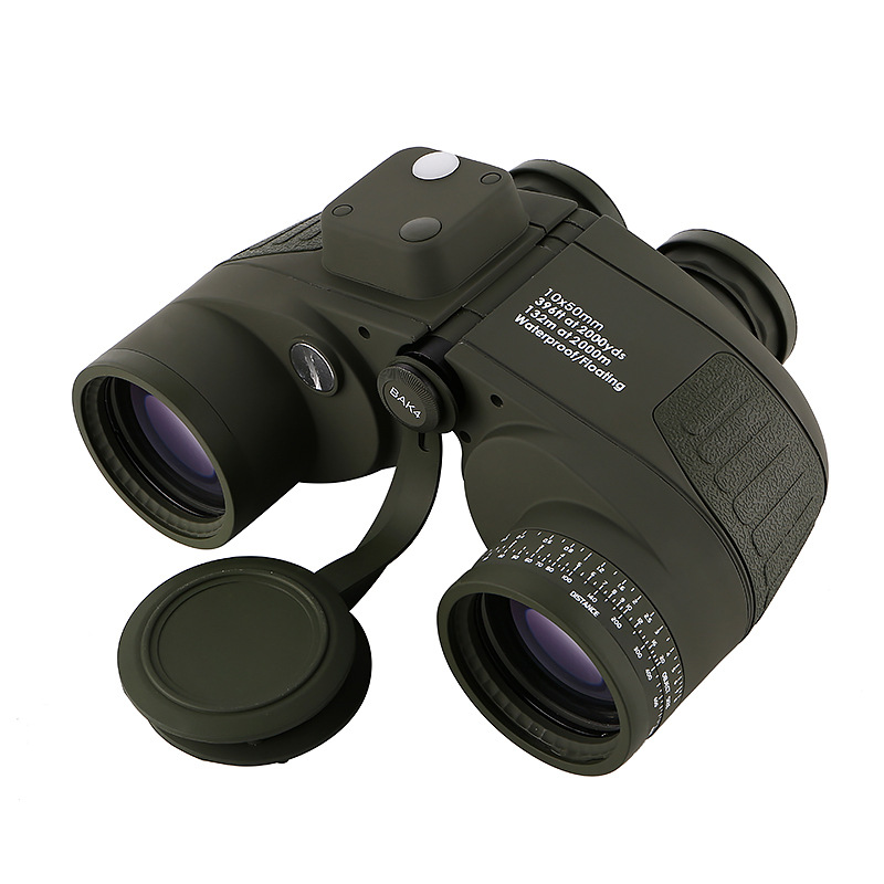 10x50 Binoculars Nautical Compass Waterproof Telescope with Night Vision HD Professional Optical Telescope Military Standard-in Monocular/Binoculars from Sports & Entertainment