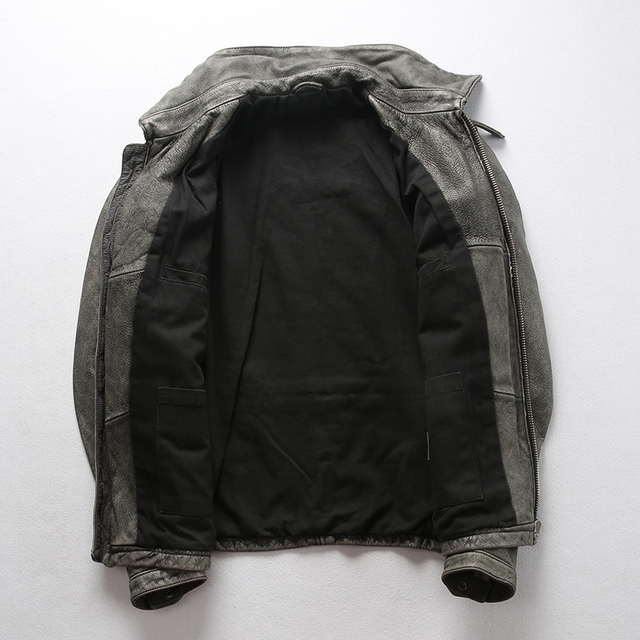2020 Vintage Grey Men Leather Jacket and Leather Trousers Genuine Thick Cowhide American Style Leather Coat