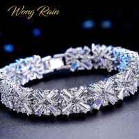 Wong pluie romantique mignon 100% 925 en argent Sterling créé Moissanite pierre de naissance bracelet manchette Bracelets bijoux en gros