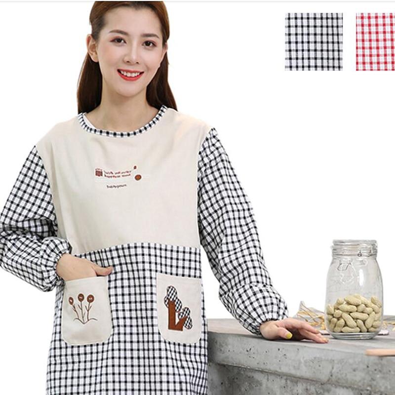 Ev ve Bahçe'ten Önlükler'de Ev mutfak pişirme kirli önlük pamuk ekose uzun kollu bluz kadın yetişkin iş tulum ev temizlik önlük title=