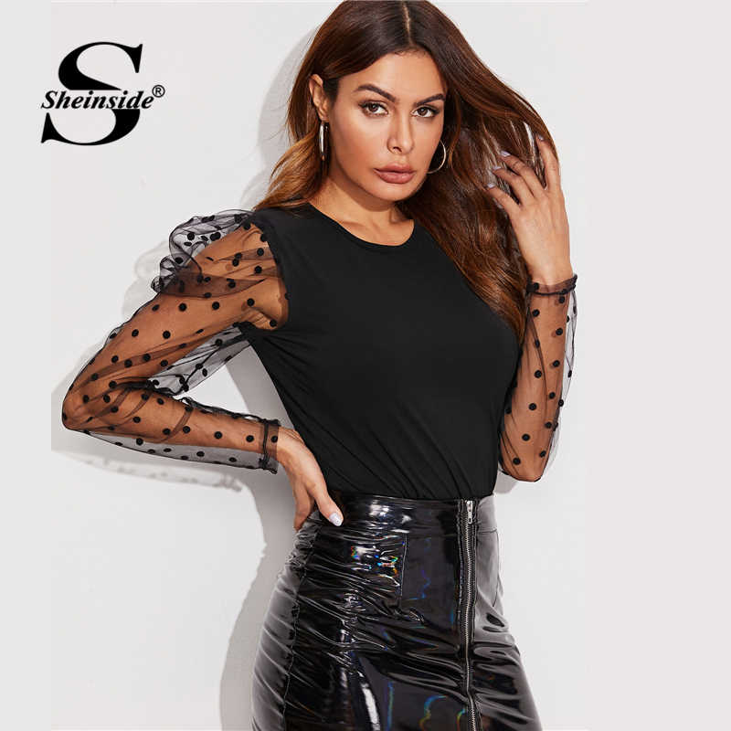 Sheinside Black Elegant Puff Sleeve T-shirt Women 2019 Autumn Polka Dot Print Contrast Mesh Patchwork Tee Tops Ladies Casual Top