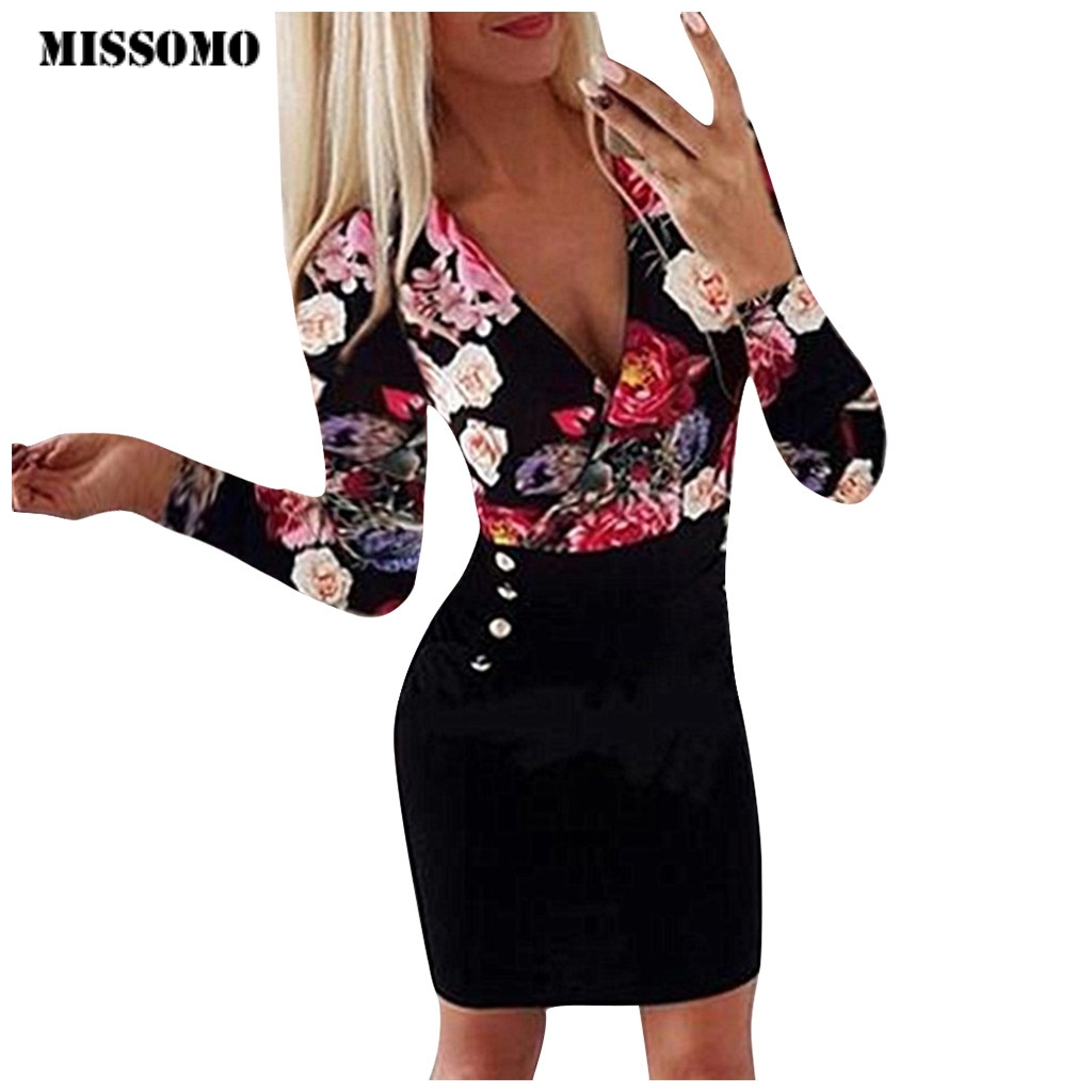 MISSOMO Formal Dress Women Elegant Plus Size Sexy V Neck Long Sleeve Rose Printed Button Mini Party Dress Sheath Dresses Woman 8