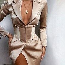 LZEQuella женская верхняя одежда Новая мода осень сексуальное Глубокий v-образный вырез пальто женское необычное однотонное пальто готическое Свободное пальто