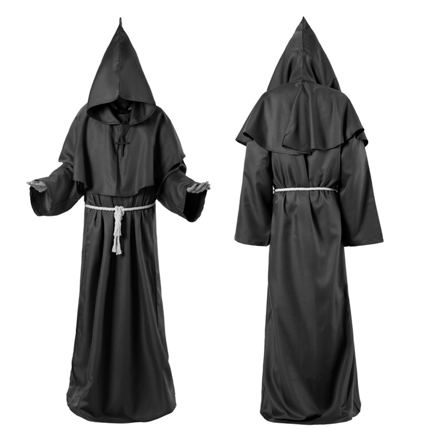 <font><b>Horror</b></font> Grim Reaper Costume Men Vintage Monk Cosplay Cloak Robe Scary Wizard Costume Halloween Costumes for women Dress image