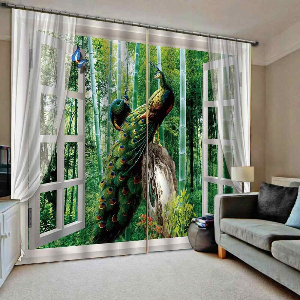 Luxury Blackout 3D Window Curtains For Living Room Bedroom Drapes Cortina green peacock curtains window curtain