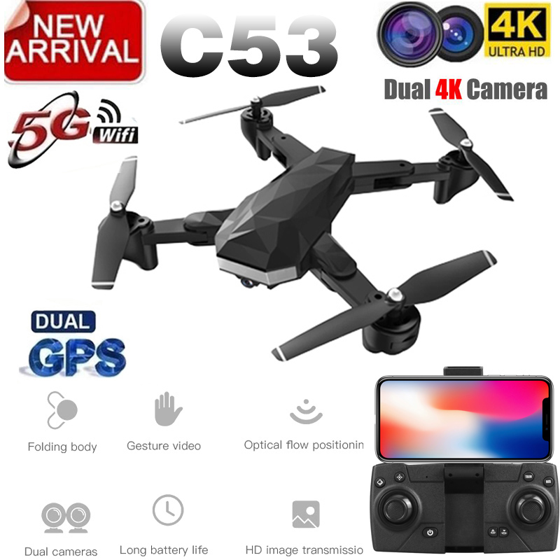 New Arrival C53 GPS Drone With 4K HD Camera 5G WIFI FPV RC Quadcopter Foldable Professional Helicopter Remote Control Drones Toy