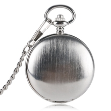цена на Classic Silver Pocket Watch Smooth Hand-winding Mechanical Double Hunter Pendant Watches Neckalce Chain Accessory relogio Montre