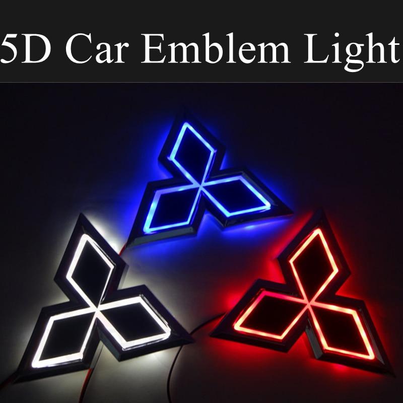 For Mitsubishi ASX Lancer 9 10 Ralliart Galant Outlander Pajero Mirage 5D Car LED Front Emblem Light Rear Trunk Auto Accessories 1