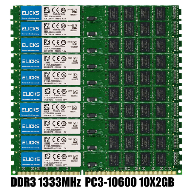10pcs 2gb ddr3 1333mhz pc3 10600u שולחן העבודה זיכרון DIMM 240 פינים RAM 1.5v שאינו ECC